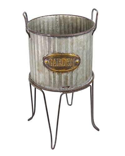 (Alpine Corporation Large Metal Outdoor Flower Planter with Stand - Garden Tin - Outdoor Yard Decor - 12