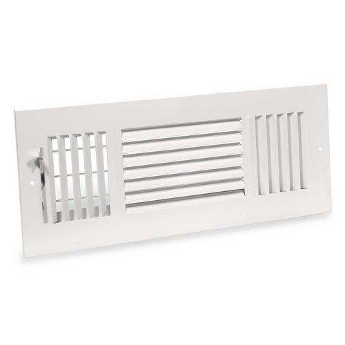 12 inch x 4 inch White Three-Way Steel Sidewall/Ceiling Register (683M Series)
