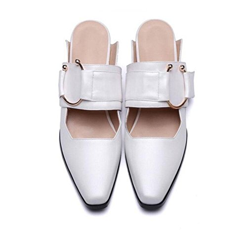 Slip Thick Court Female White Sweat Flat Leather Black Women Sandals Shoes Slippers Shoes Cool White Mules Low On Slippers Heel GLTER Slippers xAp6qTw