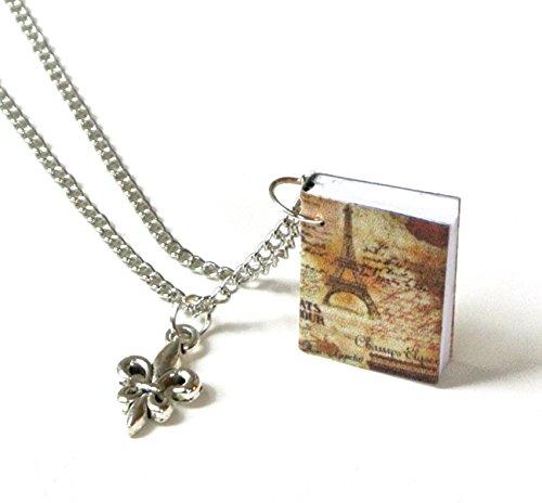 Miniature Paris Travel Book Necklace with Fleur de Lis Charm