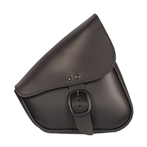 Willie & Max by Dowco 59906-00 Matte Black Leather Buckle Swingarm Bag: Fits Dual Shock Bikes/Sportster/Yamaha Bolt, 9 Liter Capacity - Willie And Max Bag