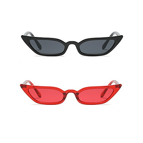Semi Cateye Sunglasses Thin Narrow Skinny Small Pointed Clear Frame Trendy Chic (Black + Red, 52) -