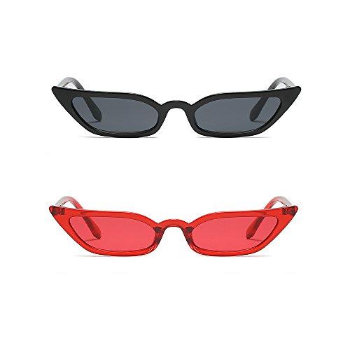 Semi Cateye Sunglasses Narrow Skinny Slim Small Pointed Clear Frame Trendy Chic (Black + Red, 52)