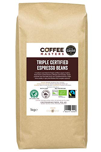 Coffee Masters Triple Certified, Organic, Fairtrade, Arabica Coffee Beans...