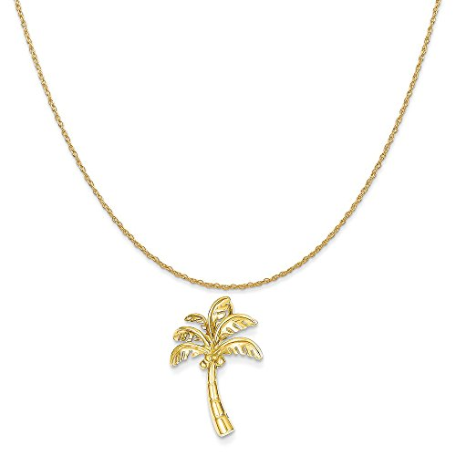14k Yellow Gold Palm Tree Slide Pendant on a 14K Yellow Gold Rope Chain Necklace, 20