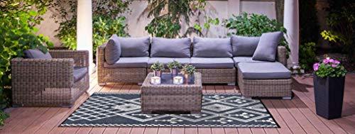 Garden and Outdoor Lightweight Outdoor Reversible Durable Plastic Rug (4×6, Kansas Dark Grey/White) outdoor rugs