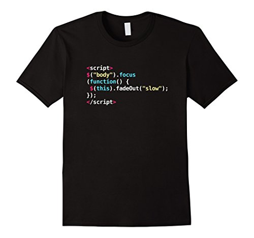 Snippets Printed (Men's Javascript Code Programmers Geek Shirt Medium Black)