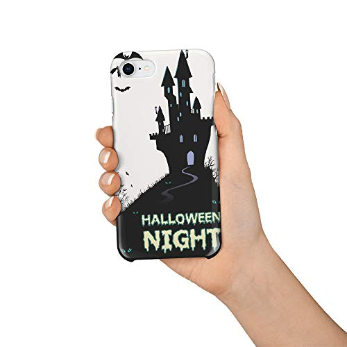 (Durable Phone Case for iPhone 7/iPhone 8, Haloween Night Dark Castle Bats Stylish Phone Shell Shockproof Protective Back Cover with Tempered Glass Screen Protector,)
