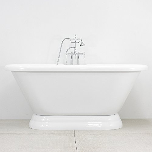 Duty CoreAcryl Double Walled Acrylic Double Ended Pedestal Bath Tub and Faucet Pack in Chrome (Double Ended Bathtub)