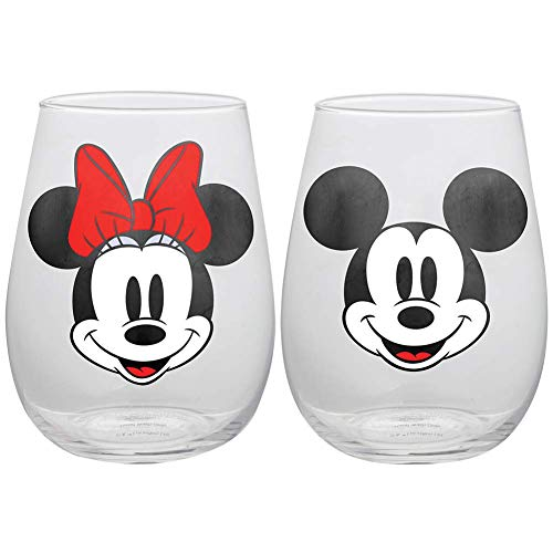 Disney Mickey and Minnie Mouse Stemless Wine Glasses,