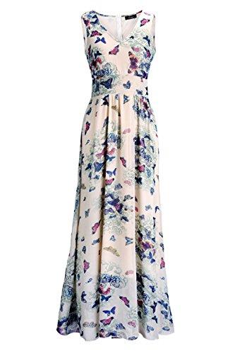 Womens Bohemian Dresses Chiffon Dresses Sleeveless Long Dress - 4