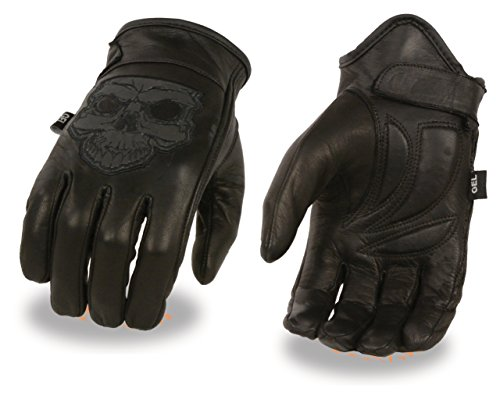 Men's Leather Motorcycle Glove w/ Reflective Skull Design & Gel Palm (Large)
