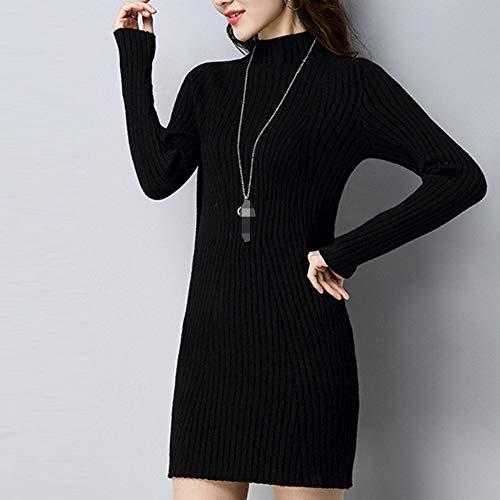 Lunghe Da Camicie Maglione Dolcevita Black Elegante Maglieria Tinta Unita Tops Donna Aderente Top Czzwvqdx