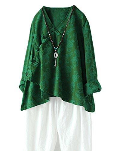Green Linen Button (Minibee Women's Long Sleeve Linen Retro Chinese Frog Button Tops Blouse Green XL)