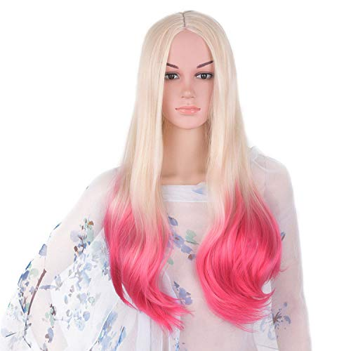 Wigs Ombre Gray Wig Synthetic Kanekalon Hair 60Cm Long Straight Full Head Hair Extensions,Blonde Ombre Pink,24