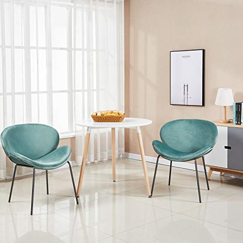 46899bf520b1 GreenForest Dining Table White Modern Round Table with Wood Legs for Kitchen  Living Room Leisure Pedestal