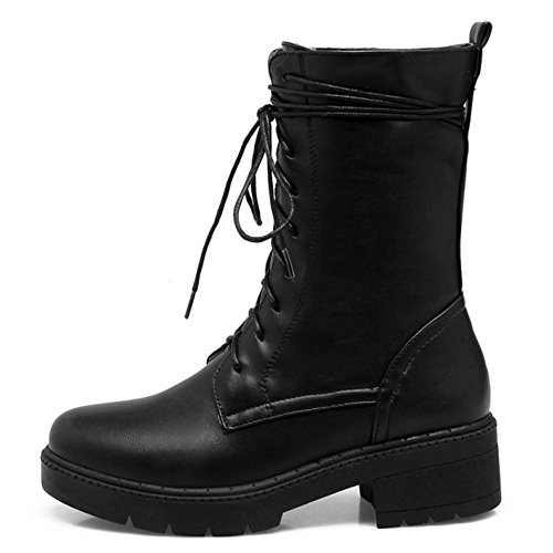 Up RAZAMAZA Lined Black Lace Boots Women Warm Winter Fww1tq6