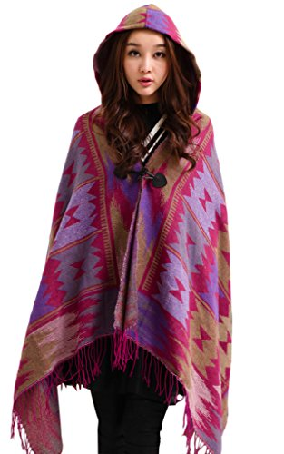 Telamee Soft Cashmere Poncho with Hood Cape Oversized Cardigans Scarf for Women Purple
