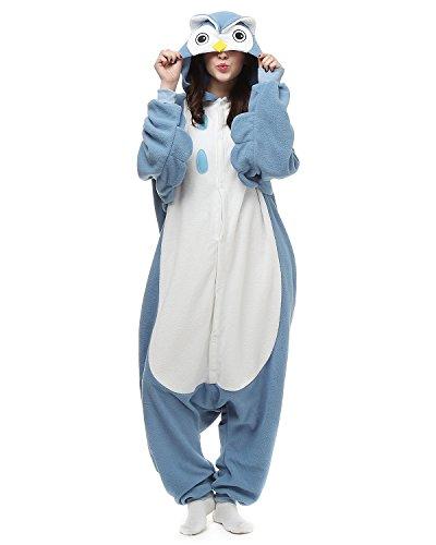 [Oneises Women Men's Animal Blue Owl Onesie Halloween Costume Pajamas Partywear Medium] (Mens Owl Costumes)