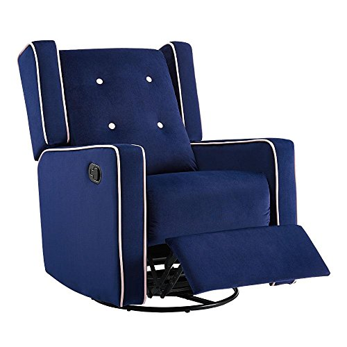 Naomi Home Odelia Swivel Rocker Recliner Navy/Microfiber