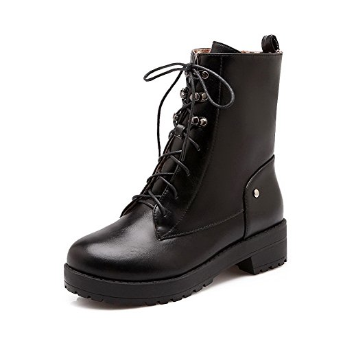 AmoonyFashion Lace Women's Soft up Black Closed Low Toe Material Heels Top Low Boots Round trrTAq