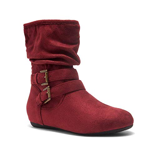 Herstyle Lindell Women's Fashion Flat Heel Calf Boots Side Zipper Slouch Ankle Booties Burgundy 7.0 Ankle Boots Side Zipper