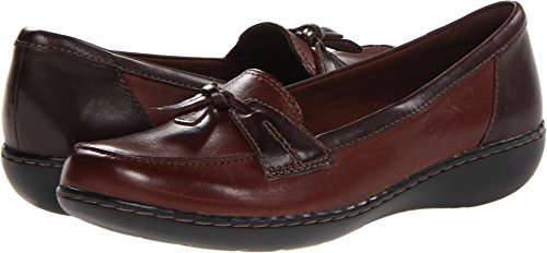 Clarks Women's Ashland Bubble Slip-On Loafer, Brown Leather, 11 XW US