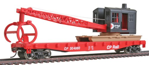 - Walthers Trainline Flatcar with Logging Ready to Run Crane - Canadian Pacific 304860, Red, Black, Multimark Logo