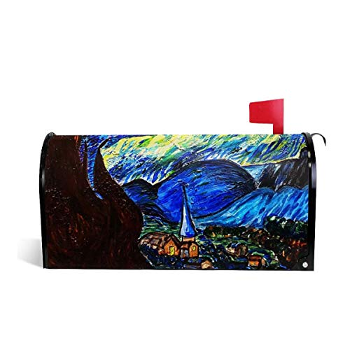 Fghfgh4ghghf Hand Painted Starry Sky Decorative Magnetic Mailbox Makeover Cover Made in The USA Standard 21 X 18 in