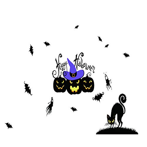 (Ecoolda Halloween Window Sticker Clings Pumpkin Bat and Black Cat (14Pcs) Halloween Stickers for Halloween Party, for Kids)