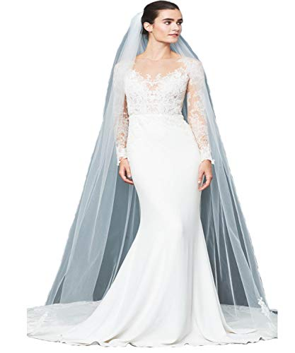 - Passat Ivory 1T Walking Length 1 Tier Concentrated scalloped Alencon lace veil for brides with crystals CATHERINE