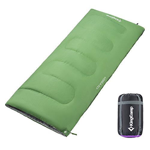 KingCamp Sleeping Bag Envelope Adults Three Season Warm Lightweight Portable Waterproof Comfort With Compression Sack for Cool Weather Backpacking Camping Hiking