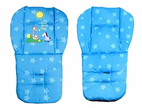 Blue Color Baby Stroller Mat Cotton Cartoon Animal Printed Chair Seat Cushion Pad Soft Cushion Car Seat Thick Padding 0-36 Months