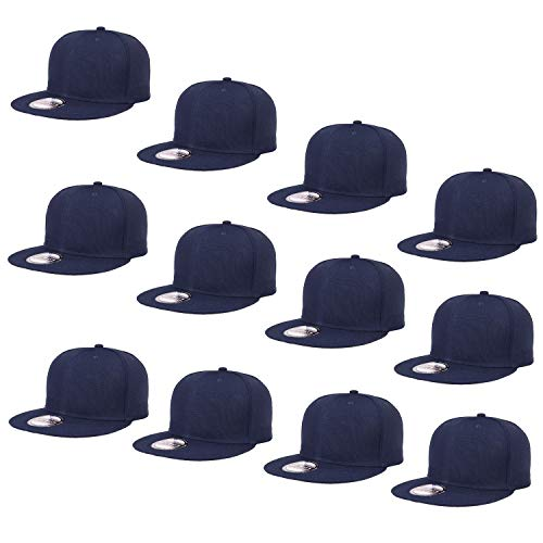 Falari Wholesale 12 Pack Snapback Hat Cap Hip Hop Style Flat Bill Blank Solid Color Adjustable Size G212-02-Navy
