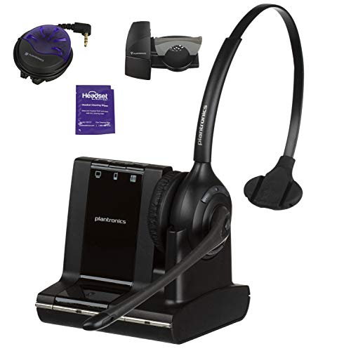 Plantronics Savi W710 Wireless Headset Bundle with Lifter, Busy Light and Headset Advisor Wipe- Professional Package