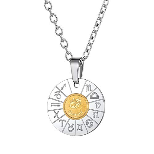 Suplight Stainless Steel Zodiac Sign Gemini Coin Pendant Boho Jewelry Gold Plated Two-Toned Constellation Horoscope Charm Necklace Birthday Gifts for Men Women