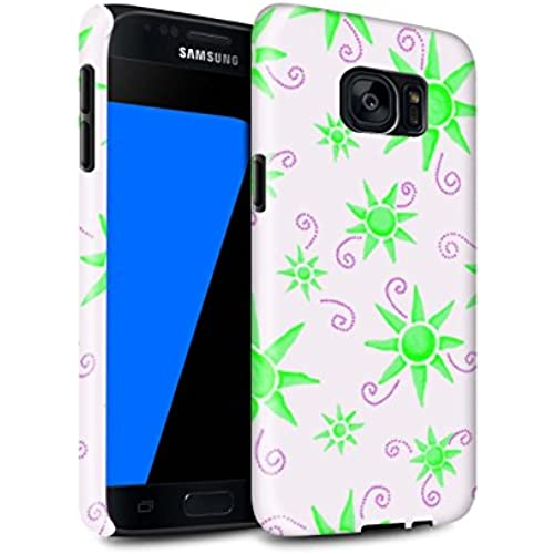 STUFF4 Gloss Tough Shock Proof Phone Case for Samsung Galaxy S7/G930 / Green/White Design / Sun/Sunshine Pattern Sales
