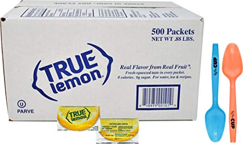 True Lemon Packets 500 Count Crystallized Lemon Water Flavoring Packets with By The Cup Mood Spoons