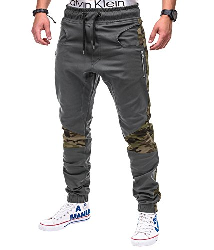 Betterstylz DixonBZ Men´s Chino Jogger Trousers Pants Camouflage Army div. Colors (S-3XL) (30-40) (Medium, Grey/Camoflage)