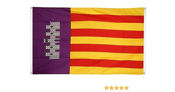 Digni de balcón (con 4 ojales) bandera de España Mallorca – 90 x 150 cm adhesivo gratis: Amazon.es: Jardín