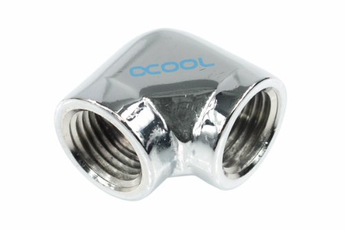 Chrome Water Cooling Fittings Alphacool 17041 L-Connector G1//4 Inner Thread to G1//4 Inner Thread