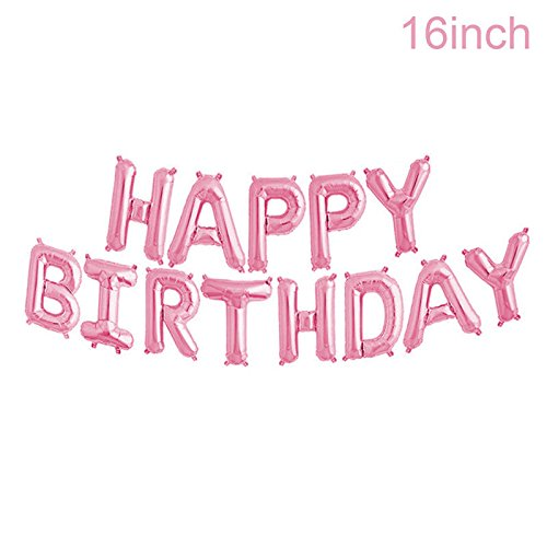 Adorox 16 Inches Happy Birthday Metallic Aluminum Foil Birthday Balloon Banner (Pink) -