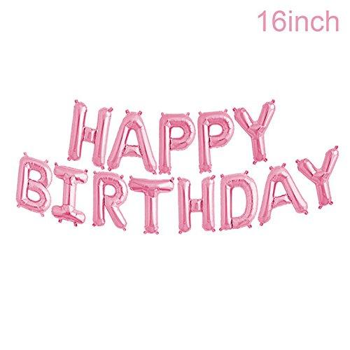 (Adorox 16 Inches Happy Birthday Metallic Aluminum Foil Birthday Balloon Banner (Pink))