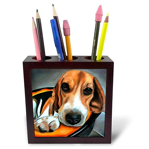 3dRose Taiche - Acrylic Painting - Beagle Dog - Bedtime for Beagle - 5 inch Tile Pen Holder -