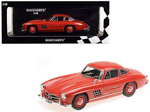 (1955 Mercedes Benz 300 SL Red Limited Edition to 300 Pieces Worldwide 1/18 Diecast Model Car by Minichamps)