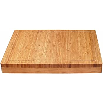 "Lipper International 8830 Bamboo Over-the-Counter-Edge Kitchen Cutting and Serving Board, 17-5/8"" x 13-7/8"" x 2"""