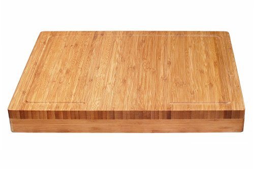 (Lipper International 8830 Bamboo Wood Over-the-Counter-Edge Kitchen Cutting and Serving Board, 17-5/8