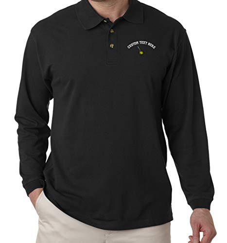 - Custom Text Embroidered Storm Lightning Flash Unisex Adult Button-End Spread Long Sleeve Cotton Polo Jersey Shirt Golf Shirt - Black, 3X Large