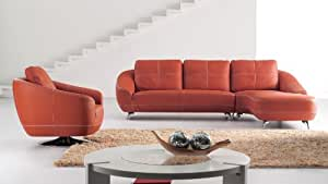 Orange Lucy Leather Sectional Sofa- Right Chaise and Chair