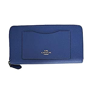 Coach Crossgrain Leather Accordion Zip Wallet (Blue Lavender/Silver)